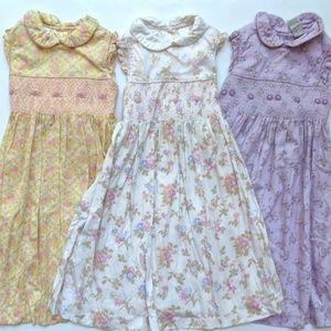 Laura Ashley Girls Floral Smocked Summer Dress Lot